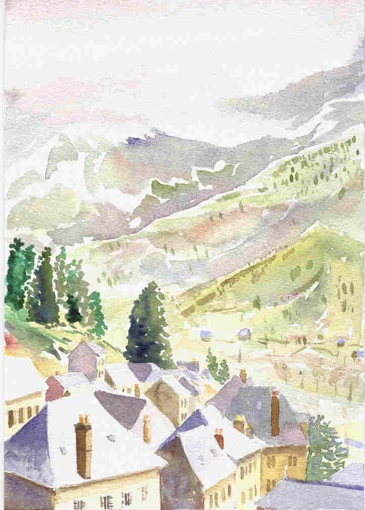 Thiézac village under snow, Cantal